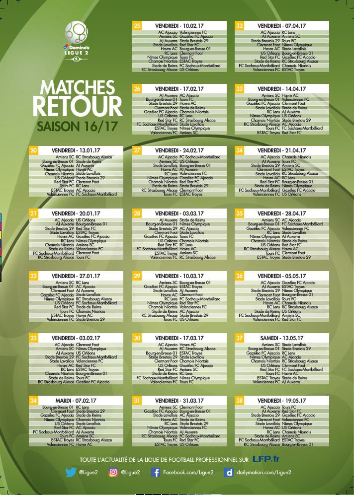 calendrier ligue 2 retour